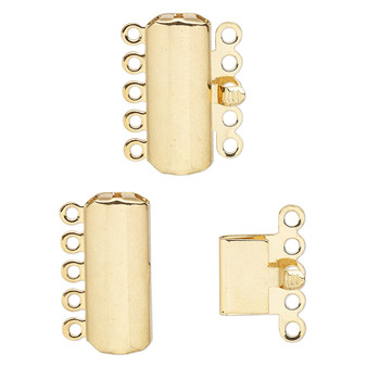 Clasp, 5-strand tab, gold-plated brass, 19x8mm curved rectangle. Sold per pkg of 10.