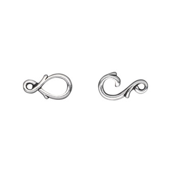 Clasp, TierraCast®, hook-and-eye, antique silver-plated pewter (tin-based alloy), 16x7mm with fancy vine design. Sold individually.