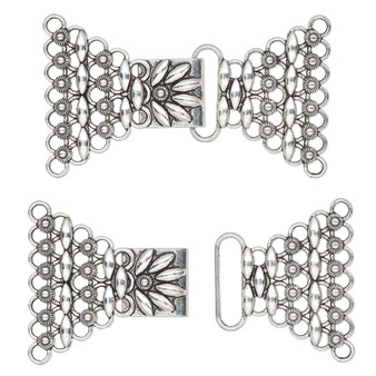 """Clasp, 7-strand hook, antique silver-finished """"pewter"""" (zinc-based alloy), 78x44.5mm with flower. Sold individually."""