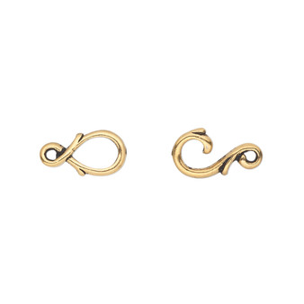 Clasp, TierraCast®, hook-and-eye, antique gold-plated pewter (tin-based alloy), 16x7mm with fancy vine design. Sold individually.