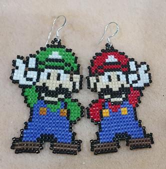 Handmade Mario and Luigi   Earrings