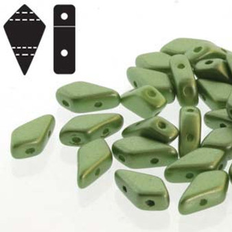 Czech 2 hole Kite beads - 9mm x 5mm - Pastel Olivine 20gms - KT9525034