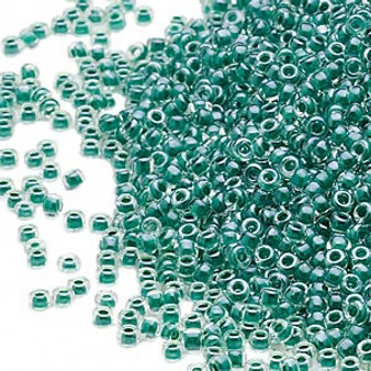 15-217 - 15/0 - Miyuki - Transparent Colour-Lined Luster Teal - 35gms Glass Round Seed Beads