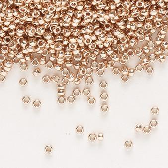 15-1072L - 15/0 - Miyuki - Opaque Galvanized Champagne - 8.2gms Vial Glass Round Seed Beads