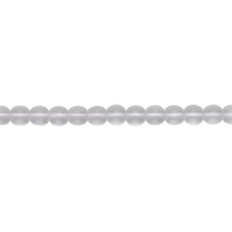 """4mm - Czech - Transparent Matte Clear - Strand (16"""") - Glass Druk Round Bead"""