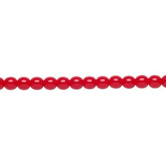 "4mm - Czech - Opaque Red - Strand (16"") - Glass Druk Round Bead"