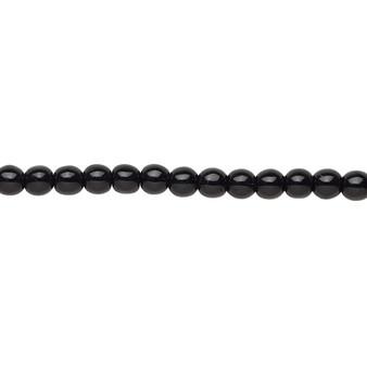 "4mm - Czech - Opaque Black - Strand (16"") - Glass Druk Round Bead"