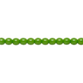 """4mm - Czech - Opaque Candy Green - Strand (16"""") - Glass Druk Round Bead"""