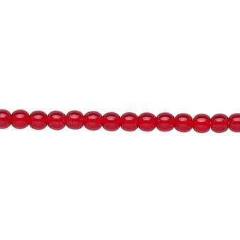 "4mm - Czech - Transparent Ruby Red - Strand (16"") - Glass Druk Round Bead"