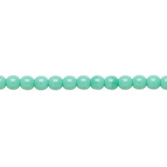 "4mm - Czech - Opaque Turquoise - Strand (16"") - Glass Druk Round Bead"