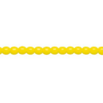 "4mm - Czech - Opaque Yellow - Strand (16"") - Glass Druk Round Bead"