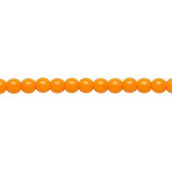 "4mm - Czech - Opaque Bright Orange - Strand (16"") - Glass Druk Round Bead"