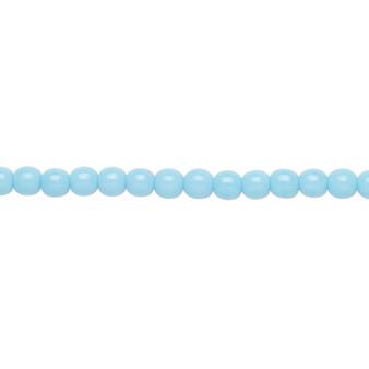 "4mm - Czech - Opaque Turquoise Blue - Strand (16"") - Glass Druk Round Bead"