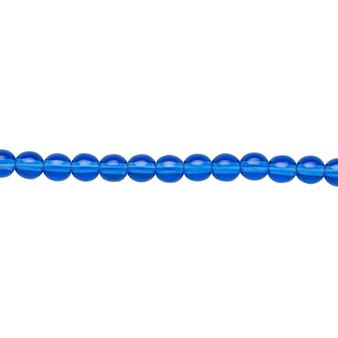 """4mm - Czech - Transparent Light Cobalt - Strand (16"""") - Glass Druk Round Bead"""