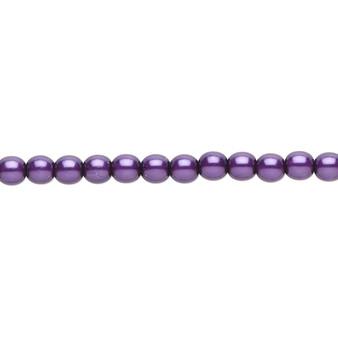 "4mm - Czech - Purple - Strand (16"") - Glass Druk Pearl Coated Round Bead"