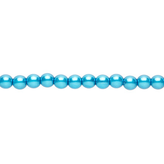 """4mm - Czech - Turquoise Blue - Strand (16"""") - Glass Druk Pearl Coated Round Bead"""