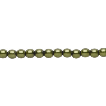 "4mm - Czech - Emerald Green - Strand (16"") - Glass Druk Pearl Coated Round Bead"