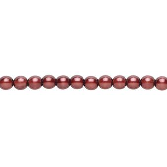 "4mm - Czech - Burgundy - Strand (16"") - Glass Druk Pearl Coated Round Bead"