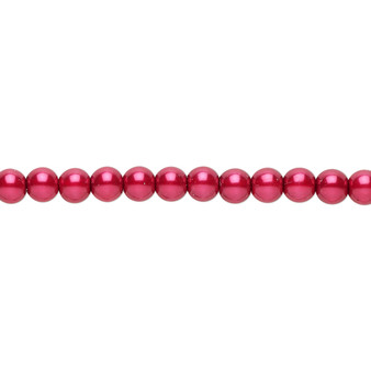 """4mm - Czech - Red - Strand (16"""") - Glass Druk Pearl Coated Round Bead"""