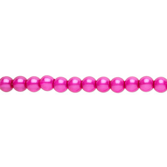 "4mm - Czech - Hot Pink - Strand (16"") - Glass Druk Pearl Coated Round Bead"