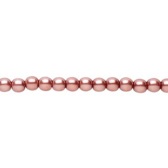 "4mm - Czech - Rose - Strand (16"") - Glass Druk Pearl Coated Round Bead"