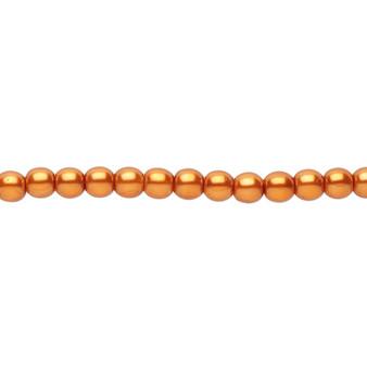 "4mm - Czech - Copper - Strand (16"") - Glass Druk Pearl Coated Round Bead"