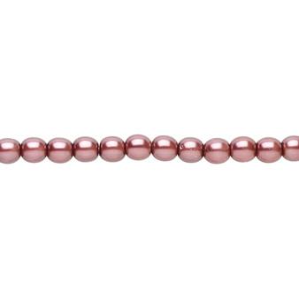 "4mm - Czech - Mauve - Strand (16"") - Glass Druk Pearl Coated Round Bead"