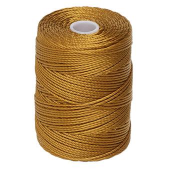 Thread, C-Lon®, nylon. 1 x Spool Size 0.5mm - 92yds (3-ply twisted) Gold
