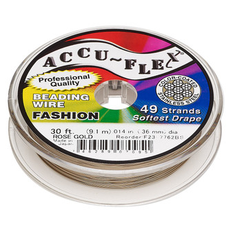 """49-Strand 0.014"""" - Accu-Flex® - Rose Gold - 30 Foot spool - Nylon & Stainless Steel Beading Wire"""