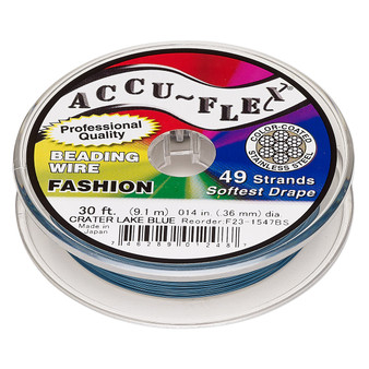 """49-Strand 0.014"""" - Accu-Flex® - Crater Lake Blue - 30 Foot spool - Nylon & Stainless Steel Beading Wire"""