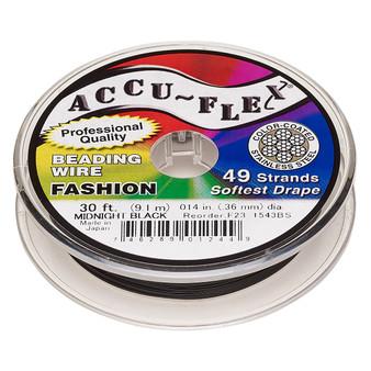 "49-Strand 0.014"" - Accu-Flex® - Midnight Black - 30 Foot spool - Nylon & Stainless Steel Beading Wire"
