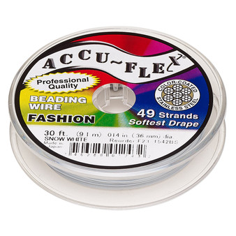 "49-Strand 0.014"" - Accu-Flex® - Snow White  - 30 Foot spool - Nylon & Stainless Steel Beading Wire"