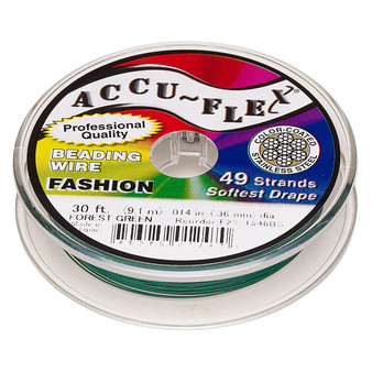"""49-Strand 0.014"""" - Accu-Flex® - Forrest Green  - 30 Foot spool - Nylon & Stainless Steel Beading Wire"""