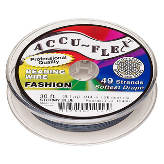 "49-Strand 0.014"" - Accu-Flex® - Stormy Blue  - 30 Foot spool - Nylon & Stainless Steel Beading Wire"