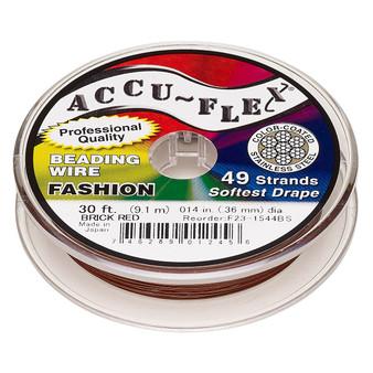 "49-Strand 0.014"" - Accu-Flex® - Brick Red  - 30 Foot spool - Nylon & Stainless Steel Beading Wire"