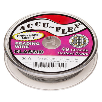 """49-Strand 0.019"""" - Accu-Flex® - Clear - 30 Foot spool - Nylon & Stainless Steel Beading Wire"""