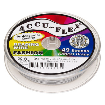 """49-Strand 0.019"""" - Accu-Flex® - Pearl - 30 Foot spool - Nylon & Stainless Steel Beading Wire"""