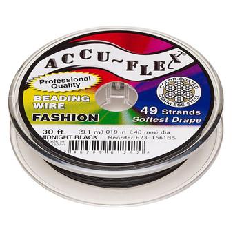 "49-Strand 0.019"" - Accu-Flex® - Midnight Black - 30 Foot spool - Nylon & Stainless Steel Beading Wire"