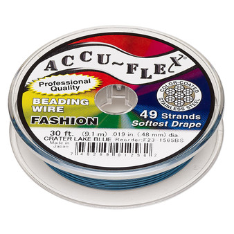 """49-Strand 0.019"""" - Accu-Flex® - Crater Lake Blue  - 30 Foot spool - Nylon & Stainless Steel Beading Wire"""
