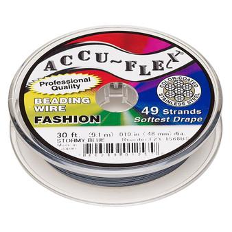"49-Strand 0.019"" - Accu-Flex® - Stormy Blue - 30 Foot spool - Nylon & Stainless Steel Beading Wire"