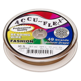 """49-Strand 0.024"""" - Accu-Flex® - Copper - 30 Foot spool - Nylon & Stainless Steel Beading Wire"""