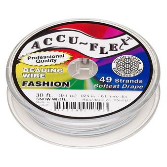 "49-Strand 0.024"" - Accu-Flex® - Snow White - 30 Foot spool - Nylon & Stainless Steel Beading Wire"