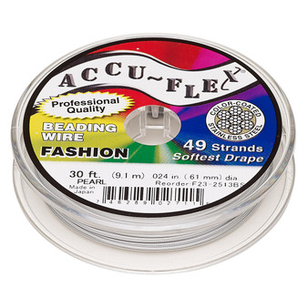 """49-Strand 0.024"""" - Accu-Flex® - Pearl - 30 Foot spool - Nylon & Stainless Steel Beading Wire"""
