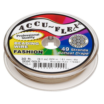 """49-Strand 0.024"""" - Accu-Flex® - Rose Gold - 30 Foot spool - Nylon & Stainless Steel Beading Wire"""