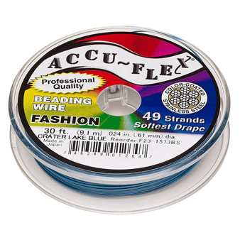 """49-Strand 0.024"""" - Accu-Flex® - Crater Lake Blue - 30 Foot spool - Nylon & Stainless Steel Beading Wire"""