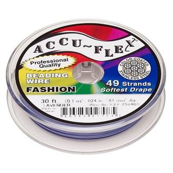 "49-Strand 0.024"" - Accu-Flex® - Lavender - 30 Foot spool - Nylon & Stainless Steel Beading Wire"