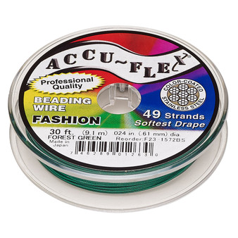 """49-Strand 0.024"""" - Accu-Flex® - Forest Green - 30 Foot spool - Nylon & Stainless Steel Beading Wire"""