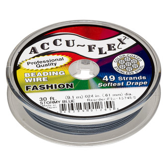 "49-Strand 0.024"" - Accu-Flex® - Stormy Blue - 30 Foot spool - Nylon & Stainless Steel Beading Wire"