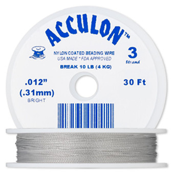 """3-Strand 0.012"""" - Acculon® - Clear  - 30 Foot spool - Nylon-coated Stainless Steel Beading Wire"""