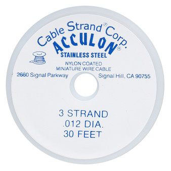 """3-Strand 0.012"""" - Acculon® - Gold - 30 Foot spool - Nylon-coated Stainless Steel Beading Wire"""